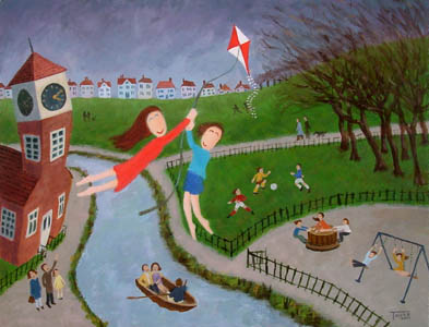 Kite Flying Painting